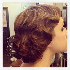 Hair by Sara @wakshacksalon finger waves pinup vintage hair wedding hair