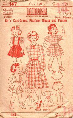 1940s Girl's Coat Dress, Pinafore, Blouse & Panties Vintage Sewing Pattern - Rare Australian Pauline Brand - Size 10