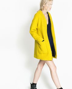 ZARA - TRF - WOOL COAT WITH CENTER ZIP