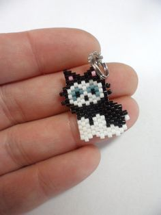 black cat charm beaded cat cat keychain by Creadivacreations