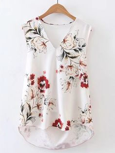 Shop V-Neckline Sleeveless High Low Top online. SheIn offers V-Neckline Sleeveless High Low Top & more to fit your fashionable needs. Blouse Patterns, Blouse Designs, Casual Outfits, Cute Outfits, Fashion Outfits, Jeans Modifié, Blouse Sexy, Ootd Hijab, High Low Top