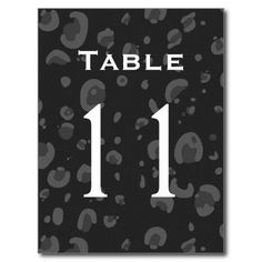 Black White Leopard Table Number Part of Set of 12 Postcards