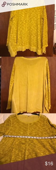 Gold Split Hem Top Beautiful top, knit front, rayon back. Great Color!  Worn once, excellent condition. easel Tops Tees - Long Sleeve