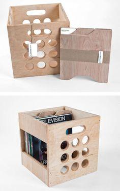 Record Storage Crate | via Uncovet