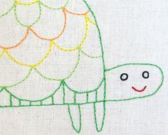T Turtle padrão de bordados à mão - arquivo PDF para impressão