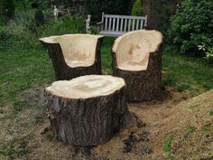 diy outdoor furniture from tree logs | via robynn preslar Tree Stump Furniture, Log Furniture, Furniture Sets, Stump Grinder, Firewood, Upcycle, Creative Ideas, Round Round, Ideas