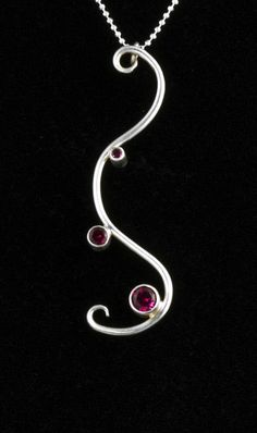 Scroll Necklace Silver Red by NIKJewelry on Etsy