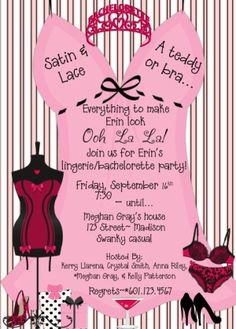 Wanted to share this idea for Bachelorette/lingerie party invite--(include Cheryls sizes)  I'm not making a habit of allowing Cheryl to see all our (Bridesmaids) Bachelorette ideas, but this is too awesome
