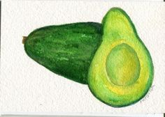 Avocados  watercolor 4 x 6 Original  Painting by SharonFosterArt, $9.00