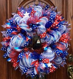 Fourth Of July Patriotic Deco Mesh Wreath~Bald Eagle~Red White Blue Ribbons Patriotic Wreath, Patriotic Crafts, July Crafts, Wreath Crafts, Diy Wreath, White Wreath, Wreath Ideas, Wreath Making, Snowman Wreath