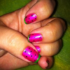 Watermelon Nails.  Sally Hansen Hard as Nails Xtreme Wear #17 Hot Magenta