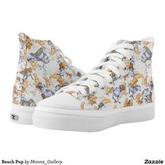 Purchase a wonderful pair of Beach sneakers & athletic shoes from Zazzle. Interchangeable covers allow you to have different shoes everyday of the week! Sneakers For Sale, High Top Sneakers, Shoes Sneakers, Women's Shoes, Flower Shoes, Sneaker Stores, Trendy Shoes, Designer Shoes, Pup