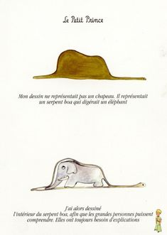 """Le petit prince reminds me of the importance of imagination...even as an adult!    """"My drawing was not a picture of a hat. It was a picture of a boa constrictor digesting an elephant. Then I drew the inside of the boa constrictor, so the grown-ups could understand. They always need explanations."""""""