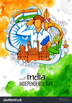 illustration of Indian background with people saluting with famous monument Red Fort or Independence Day of India