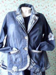 upcycling jeans patwork hippie coll rockabilly lagenlook jacke boho gipssy