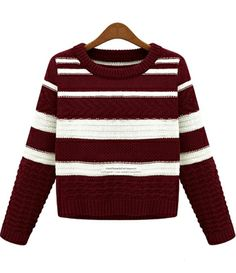 Wine Red White Striped Long Sleeve Crop Sweater US$26.23