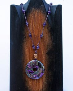 Amethyst Leather Necklace, Leather Jewelry, Amethyst Jewelry by WhiteFeatherJewelry on Etsy