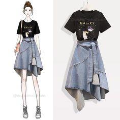 Fashion Drawing Dresses, Korean Fashion Dress, Fashion Dresses, Girls Fashion Clothes, Teen Fashion Outfits, Mode Outfits, Kawaii Fashion, Cute Fashion, Look Fashion
