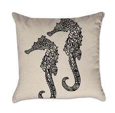 Pillow Cover with Sea Horses in Inky Black - Nautical Pillow Cover - Cotton Duck Natural
