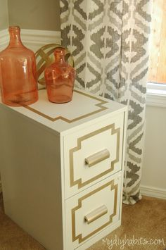 diy filing cabinet-- I would do my own color scheme but I like the idea of making it look more like a dresser, I love filing cabinets :)