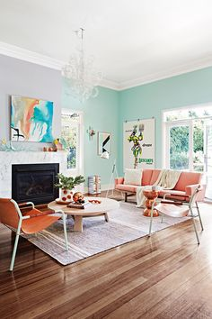 1 Living Room - 2 Ways - Soft pastels or Brilliant Blues?