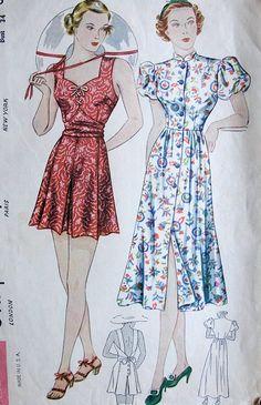 1930s Playsuit, beach dress pattern,Simplicity 2388