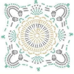 Message Crochet Squares, Grannies Crochet, Crochet Symbols, Crochet Mandala Pattern, Crochet Blocks, Freeform Crochet, Crochet Diagram, Doily Patterns, Crochet Chart