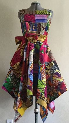 Vivid African Wax Print Dress With Asymmetric Cut by WithFlare