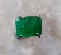 Natural Emerald Certified 1.45 Ct Zambia Octagon Green Lustrous Loose Gemstone #BilalGems