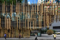 World Architecture Community News - Kengo Kuma plays with Japan's hinoki wood and concrete-patterned blocks on the facade of Japan House Architecture Company, Japan Architecture, Bamboo Architecture, Cultural Architecture, Ancient Architecture, Sustainable Architecture, Architecture Details, Kengo Kuma, Facade Design