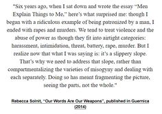 "Rebecca Solnit, ""Our Words Are Our Weapons"", published in Guernica (2014)"