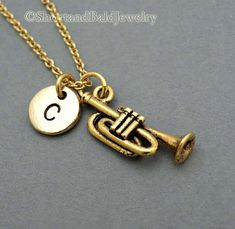 Trumpet necklace, instrument musician, antique gold, initial necklace, initial hand stamped, personalized, monogram