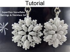 Beaded SuperDuo Snowflake Pendant Necklace Earrings Downloadable Beading Pattern Tutorial | Simple Bead Patterns