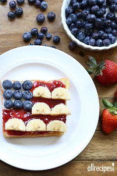 Try making a fun flag toast for your kids on Fourth of July.