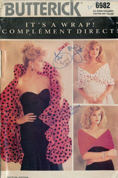 Butterick 6982 Its a wrap! Ten different variations of wraps, drapes, shawls, and scarves from 1988. by PosyDots