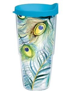 Garden Party Peacock Tumbler with Lid