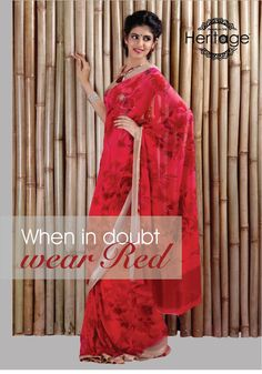 It's Time to go  this Spring. Get this stunning saree only at Printed Sarees, Public, Sari, Red, How To Wear, Prints, Collection, Fashion, Saree
