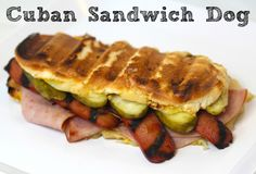 Check out this easy and quick version of a Cuban sandwich using a hot dog! This might be really good with pork sausage instead of hot dog. Hot Dog Recipes, Cuban Recipes, Burger Recipes, Great Recipes, Favorite Recipes, Hot Dog Sandwich Recipe, Cuban Sandwich, Best Sandwich, Bologna Recipes