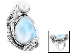 Artisan Gem Collection Of India,Pear Shape Larimar And Cultured Freshwater Pearl Silver Mermaid Ring