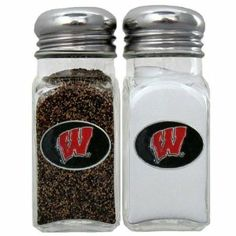 NCAA Wisconsin Badgers Salt & Pepper Shakers by Siskiyou. $17.22. Officially licensed NCAA product^Set of 2 shakers^Glass shakers with metal screw tops^Diner style replicas^Cast & enameled team emblems. Stylish glass salt and pepper shaker set featuring a Wisconsin Badgers dome with metal border. This is a great addition to any tailgating event, backyard BBQ or kitchen decor.