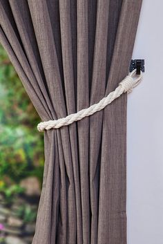 Cotton Rope Twist White Curtain Tie-backs/ Nautical curtain hold-backs/ shabby chic living room/ window treatment/ white rope tiebacks Rope Curtain Tie Back, Rope Tie Backs, Curtain Tie Backs, Nautical Curtains, Rustic Curtains, White Curtains, Window Treatments Living Room, Wall Treatments, Classic Dining Room