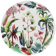 Gien Jardins Cake Platter, White/Multi, Full of vibrant color, this cake platter is crafted of earthenware and painted in stunning detail with a lively botanical motif. Fish Platter, Cake Platter, Gien France, Mother's Day Mugs, Afternoon Tea Parties, French Countryside, Elegant Table, White Clay, Leaf Design