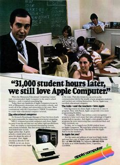 """student hours later, we still love Apple Computer"""" - Scientific American (Sep, Funny Commercials, Funny Ads, Vintage Advertisements, Vintage Ads, Poster Vintage, Retro Ads, Vintage Stuff, Vintage Signs, Apple Tv"""
