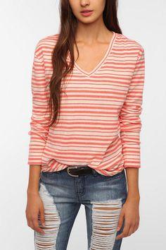 $24 BDG Striped Long-Sleeved Winterlite V-Neck Tee  #UrbanOutfitters