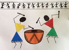 36 Trendy Ideas Abstract Art For Kids Ideas Artworks Madhubani Art, Madhubani Painting, Worli Painting, Fabric Painting, Wall Drawing, Art Drawings, Abstract Art For Kids, Indian Folk Art, Indian Art Paintings