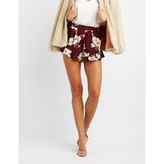 Charlotte Russe Floral Ruffle-Trim Shorts ($19) ❤ liked on Polyvore featuring shorts, burgundy, floral printed shorts, frilly shorts, flower print shorts, charlotte russe and floral shorts