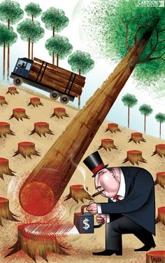 By 2030, only 10% of rainforests might be left. Today's cartoon on #deforestation, by Vasco Gargalo.