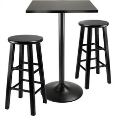 Winsome Obsidian 3 Piece Pub Table with 24 inch Stools (205 CAD) ❤ liked on Polyvore featuring home, furniture, tables, dining tables, winsome table and winsome furniture