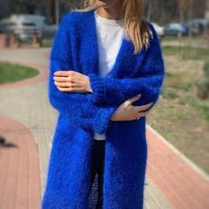 Mohair Cardigan, Angora Sweater, Chunky Knit Cardigan, Long Cardigan, Blue Cardigan, Sweaters And Jeans, Hand Knitted Sweaters, Wool Sweaters, Ukraine