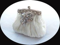 ANALISA - Vintage Inspired Pleated Light Ivory Satin Rhinestone Crystals Bridal Clutch